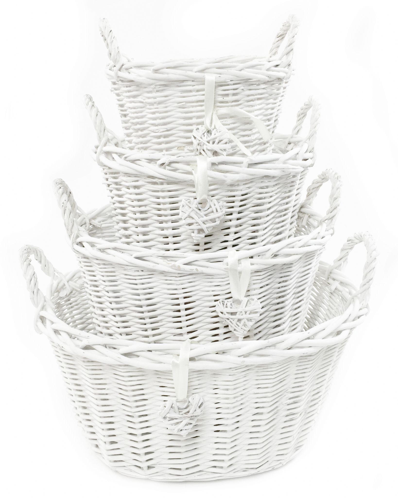 White Grey Shabby Chic Wicker Kitchen Fruit Oval Storage Baskets Xmas Hamper Basket Topfurnishing